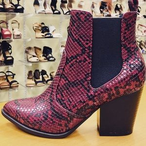 Soda Shoes - Soda Burgundy Red Python Snake Ankle Bootie